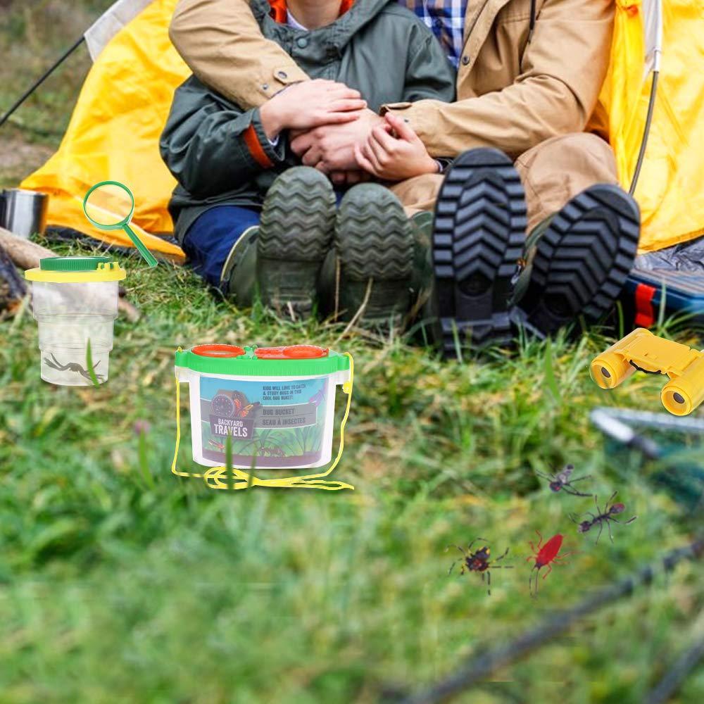 Nabance Draussen Forscherset 19 St/ück Kinderfernglas Adventurer Explorer Kit Kinder Fernglas Becherlupe Insektenf/änger Pinzetten Set Lupe Kinder Schmetterlingsnetz