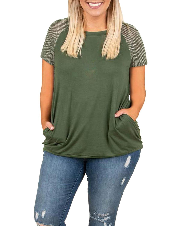 8f9072550ee Womens Short Sleeve Plus Size Tops Raglan Baseball Tee Shirts Summer  Striped Crewneck Tshirts Tunic at Amazon Women's Clothing store: