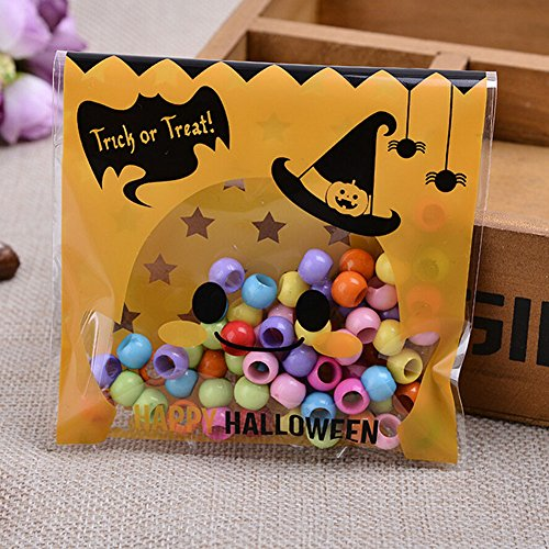 Smartcoco 100pcs Spooky Pumpkin Halloween Trick or Treat Plastic Candy Bags for Party Favors, Snacks, Decoration, Children Arts & Crafts, Event Supplies (Halloween Kid Snacks)