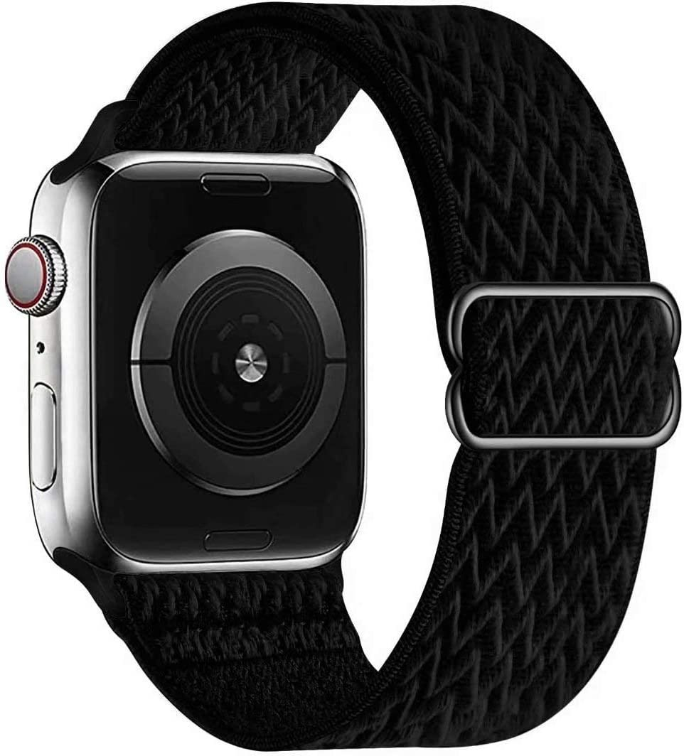 GBPOOT Soft Band Compatible with Apple Watch 38/40/42/44mm,for Women Men,Nylon Sport Loop with Wave Pattern Adjustable Buckle Replacement Strap for iWatch 6/5/4/3/2/1/SE,Black-42/44mm