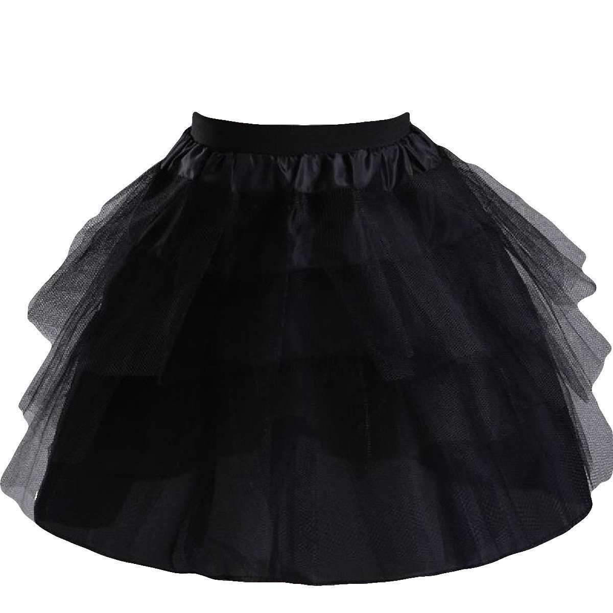 Manfei Girls 3 Layers Wedding Flower Girl Petticoat Slips Underskirt Black One Size