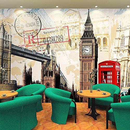 300cmX250cm 3D European style architectural Wallpaper of Paris car clock mural bar KTV restaurant casual Cafe wallpaper by ZLJTYN