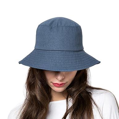 87c034d1c790e Sun Bucket Hat Women Summer Floppy Cotton Sun Hats Packable Beach Caps SPF  50+ UV Protective (B8-Denim Blue)  Amazon.co.uk  Clothing
