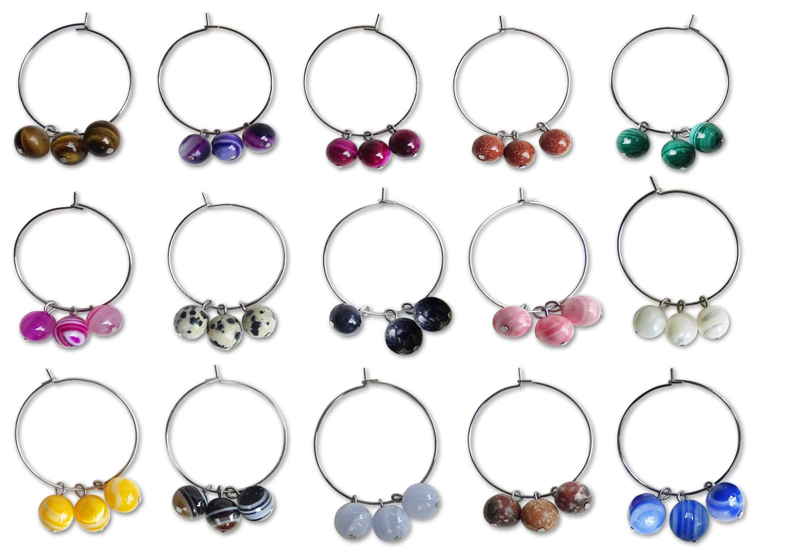 Wine Glass Charms -Set of 8, 10, 12 (Assorted colors) by Analys CC