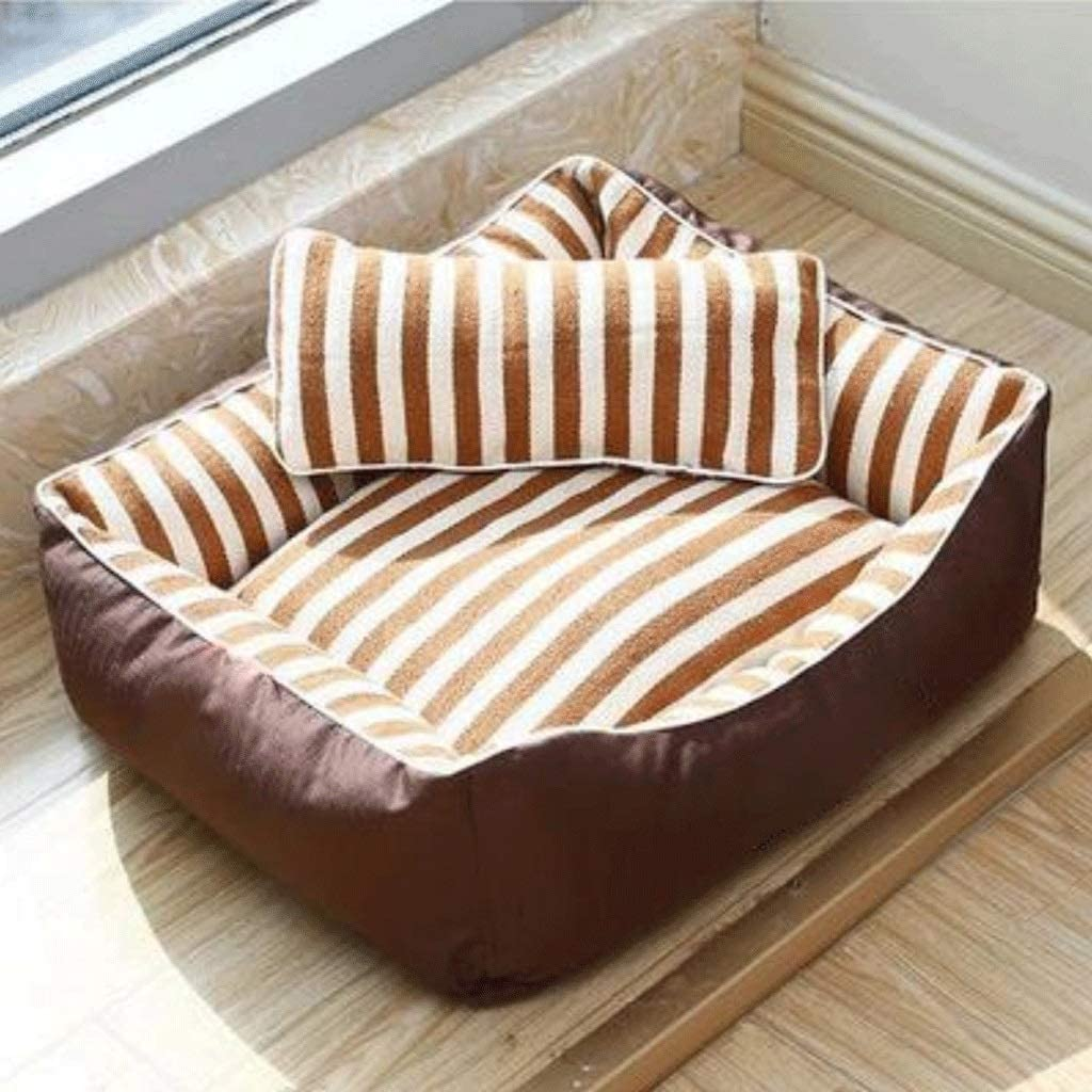 MMAWN Brown Orthopedic Dog Bed - with Grooved Orthopedic Foam, Comfy Cotton-Padded Rim Cushion and Nonslip Bottom (Size : M)