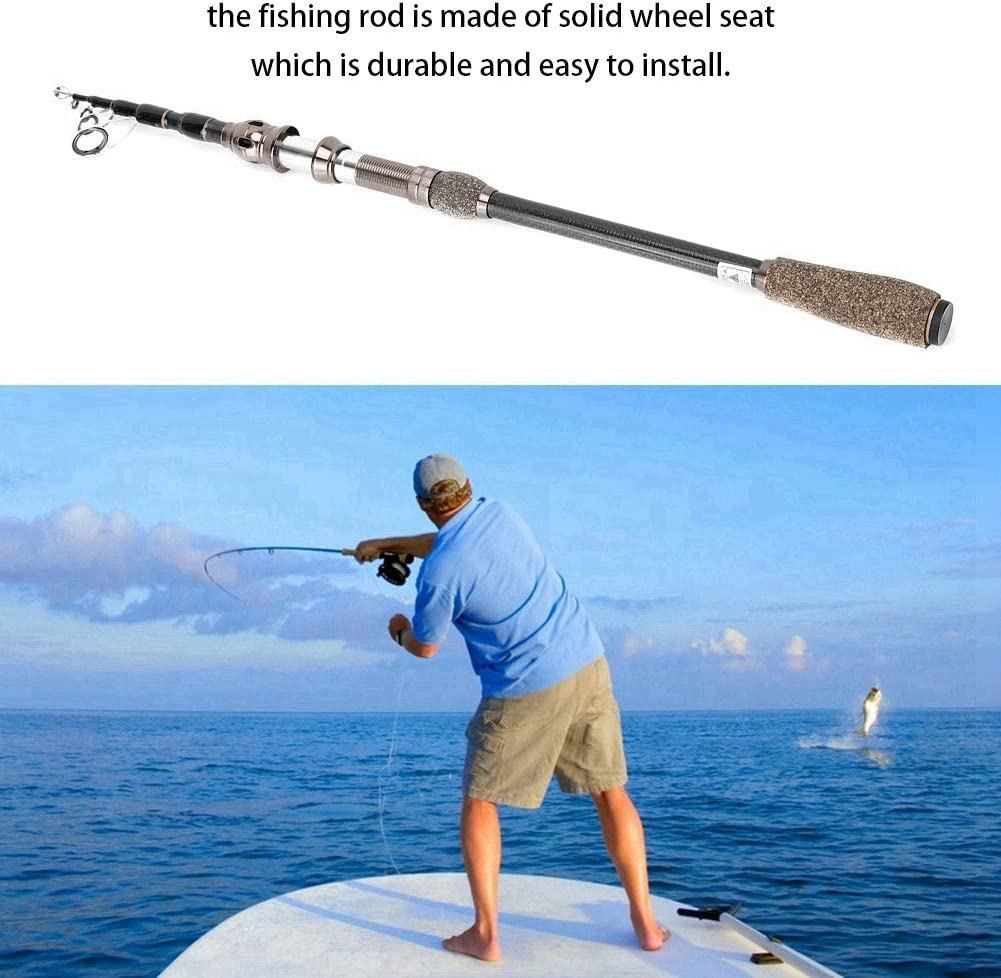Alomejor Teleskop Sea Fishing Rod leichte Kohlefaser Angelrute zum Angeln im Freien