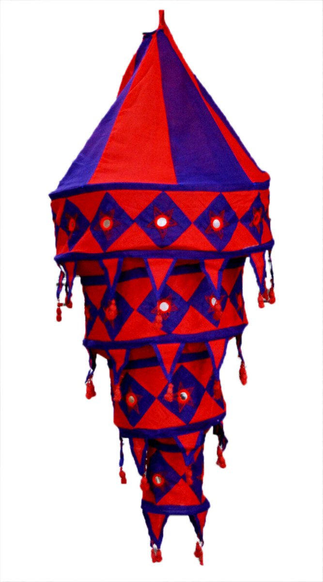 Indian Ethnic Hanging Lampshade Embroidered Mirror Work Home Decor 4 Step Lampshade
