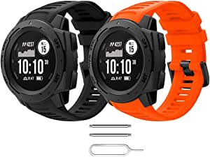 Songsier Compatible with Garmin Instinct Watch Bands, Soft and Durable Silicone Replacement Watch Band Strap Sport Fitness Wristband for Instinct GPS Smart Watch with Adapter Tools