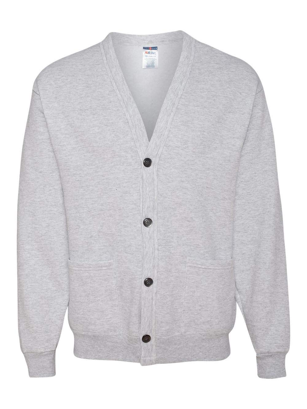 Jerzees mens 8 oz. 50/50 NuBlend Cardigan(773M)-ASH-L/XL