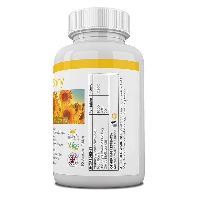 Vitamina C 1000mg blanqueamiento de la piel con caderas de rosa y bioflavonoides Suplemento de apoyo inmunológico tabletas antioxidantes ...