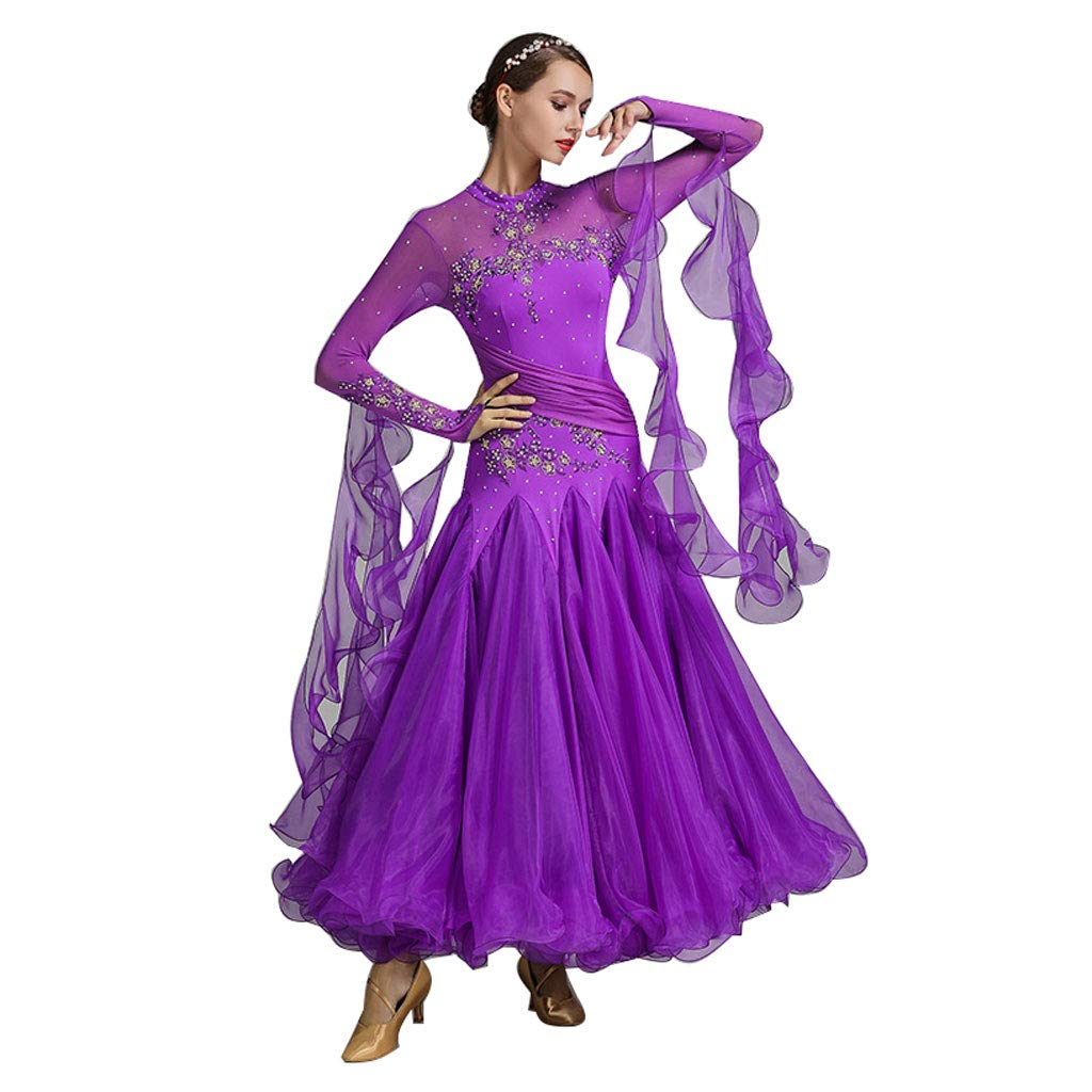 モダンダンススカート全国標準の社交ダンス大人の女性のドレスの衣装 B07P1X7DR1 M パープル パープル M