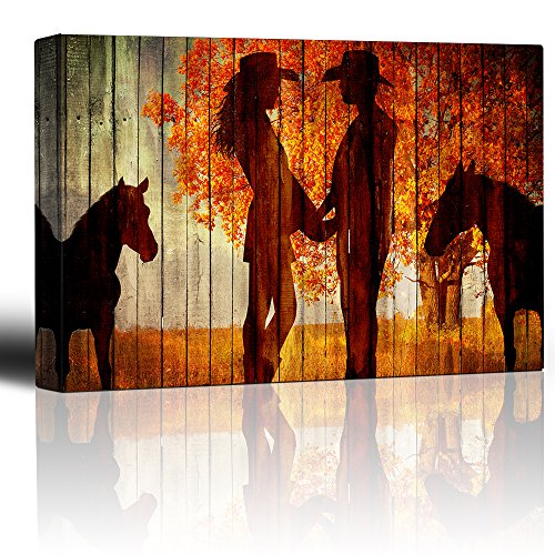 wall26 - Country Scene with The Silhoutte of Horses and A Couple Holding Hands - Canvas Art Home Decor - 32x48 inches