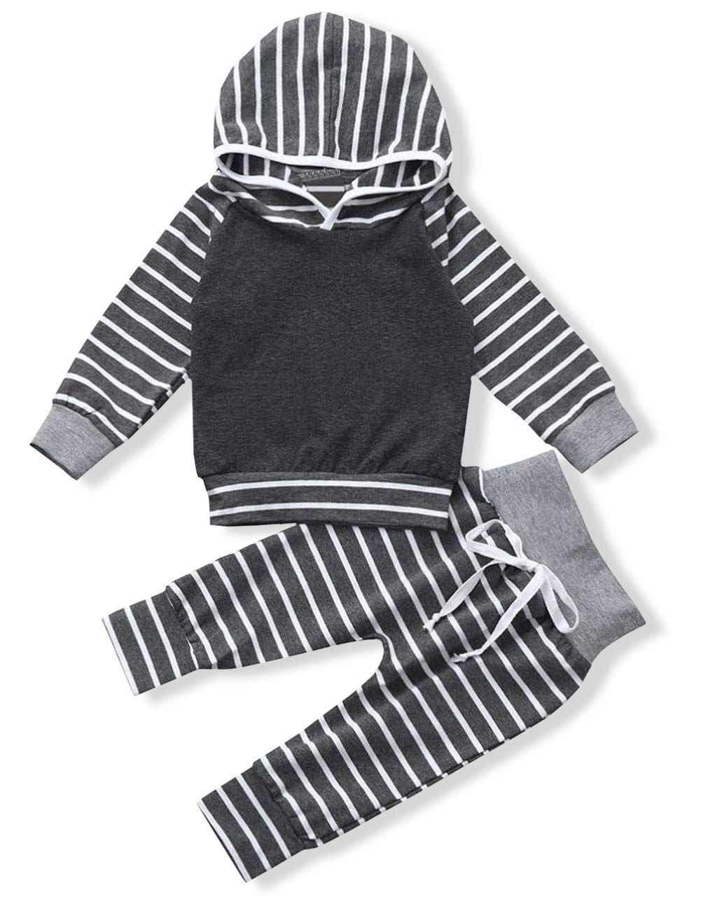 Newborn Baby Boy Clothes Long Sleeve Hoodie Sweatshirt Tops with Strip Pants Outfits Sets(6-12 Months)