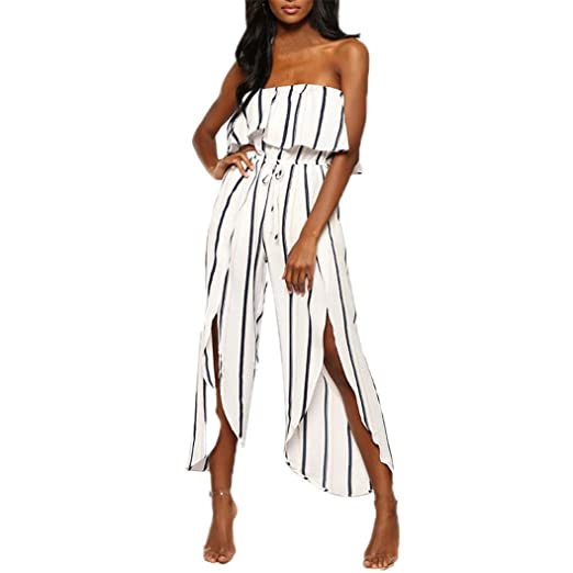 8e132e3f5c9 Amazon.com  Bravetoshop Summer Off Shoulder Jumpsuit Stripe Sleeveless  Playsuit Slit Wide Leg  Clothing