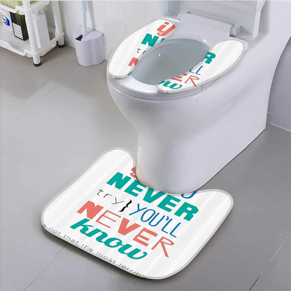 Auraisehome Non-Slip Bath Toilet Mat If You Never Try YouLl Never Know Philosophy Inspirati Modern Artistic Sign Suit for The Toilet
