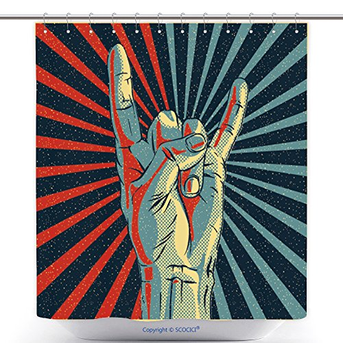Rock N Roll Zombie Costume (Stylish Shower Curtains Hand In Rock N Roll Sign Vector Illustration 170792651 Polyester Bathroom Shower Curtain Set With Hooks)
