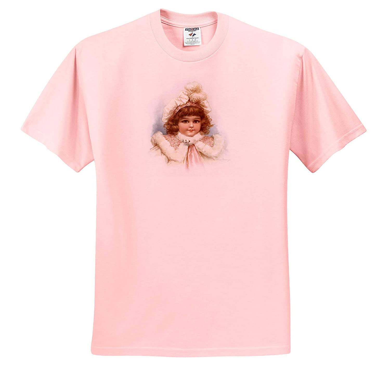 Girls Charming Girl in Blue Frances Brundage T-Shirts 3dRose VintageChest