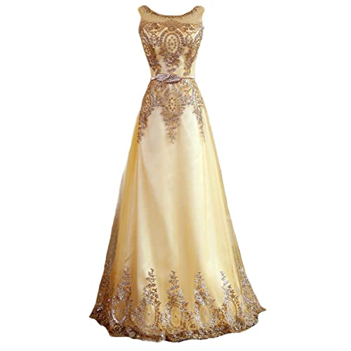 Fanhao Womens Gilted Plume Belt Lace-up Gold Long Prom Bridesmaid Dress