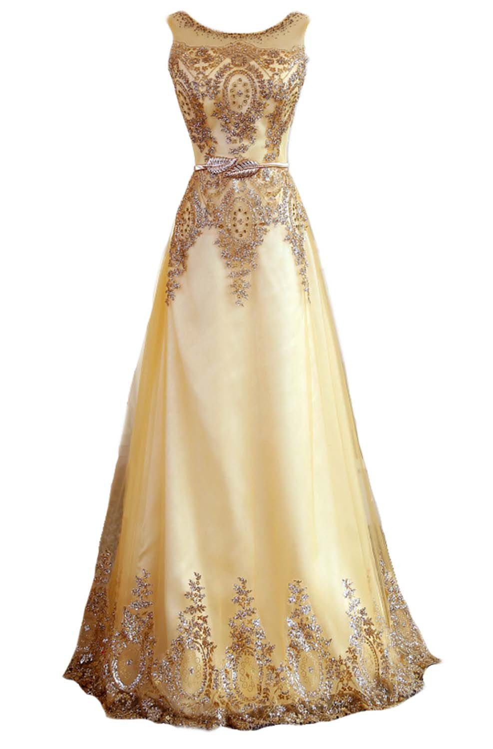 Fanhao Women's Gilted Plume Belt Lace-up Gold Long Prom Bridesmaid Dress,L