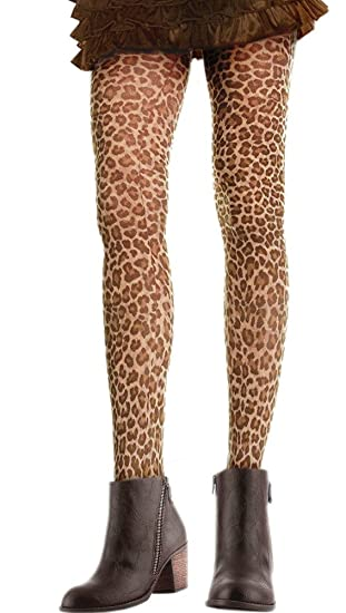 Leopard Print Tights, One Size