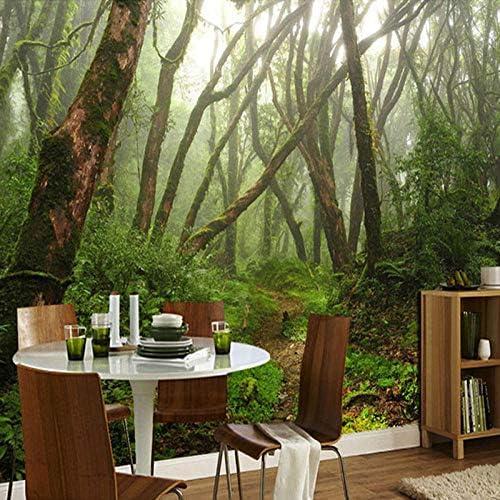 壁画3D原生林グリーンツリー壁紙リビングルームベッドルームレストランモダンな壁画フレスコ画-400x280cm