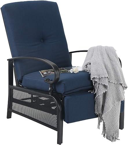 PHI VILLA Patio Adjustable Lounge Chairs Outdoor Metal Relaxing Recliner Sofa Chair