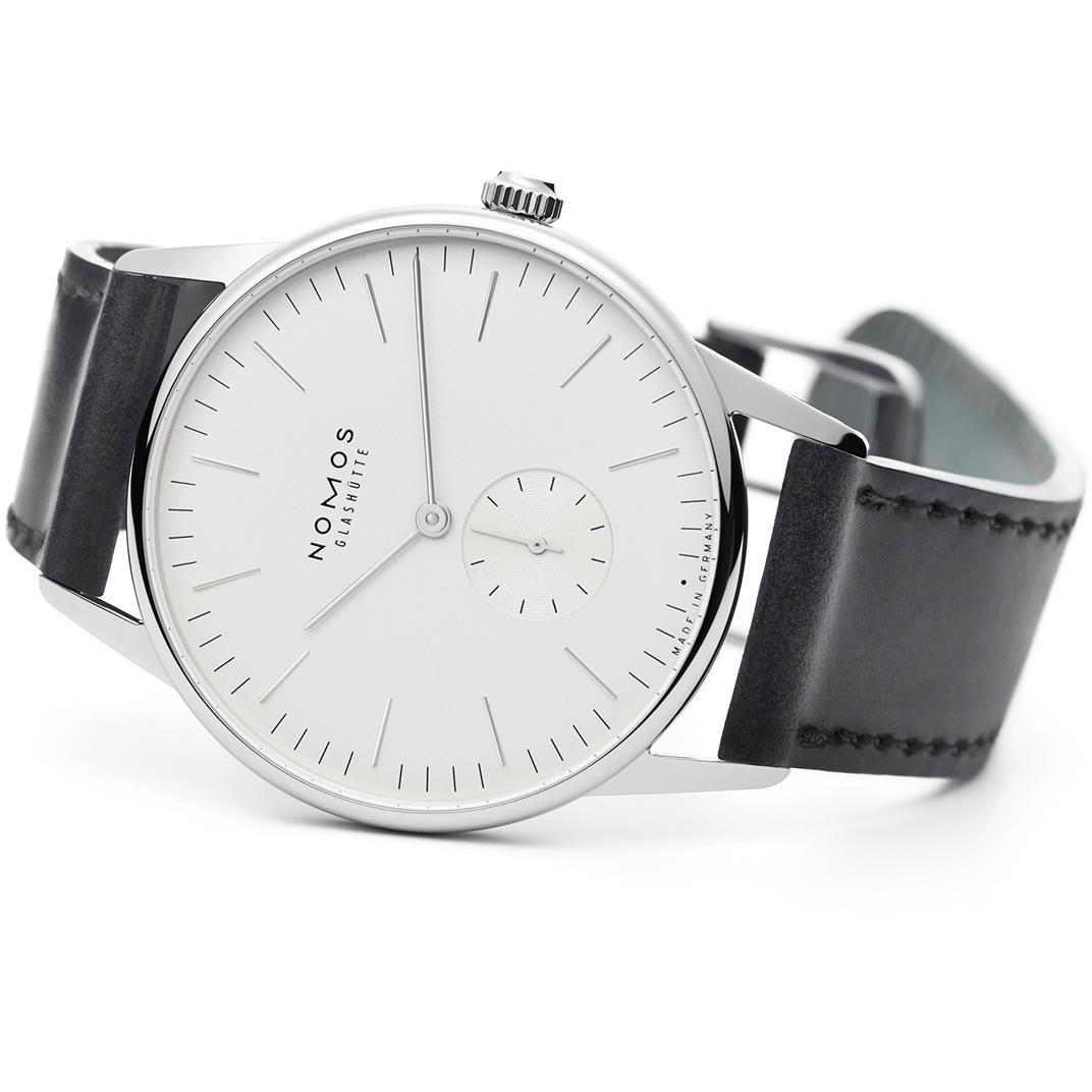 Nomos Glashuette Hombre Orion 38 mm carcasa negro piel de banda de acero mecánico esfera blanca reloj analógico 386: Nomos Glashuette: Amazon.es: Relojes