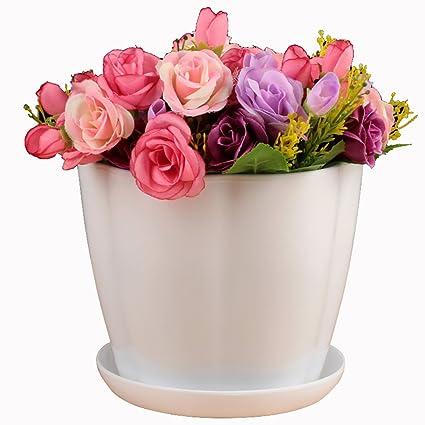 Amazon.com & Amazon.com: URYY Colorful Plastic Flowerpot Round Indoor Outdoor ...