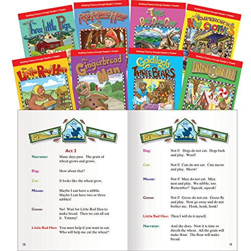 Teacher Created Materials - Reader's Theater: Folk & Fairy Tales English - 8 Book Set - Grades K-1 - Guided Reading Level E - J