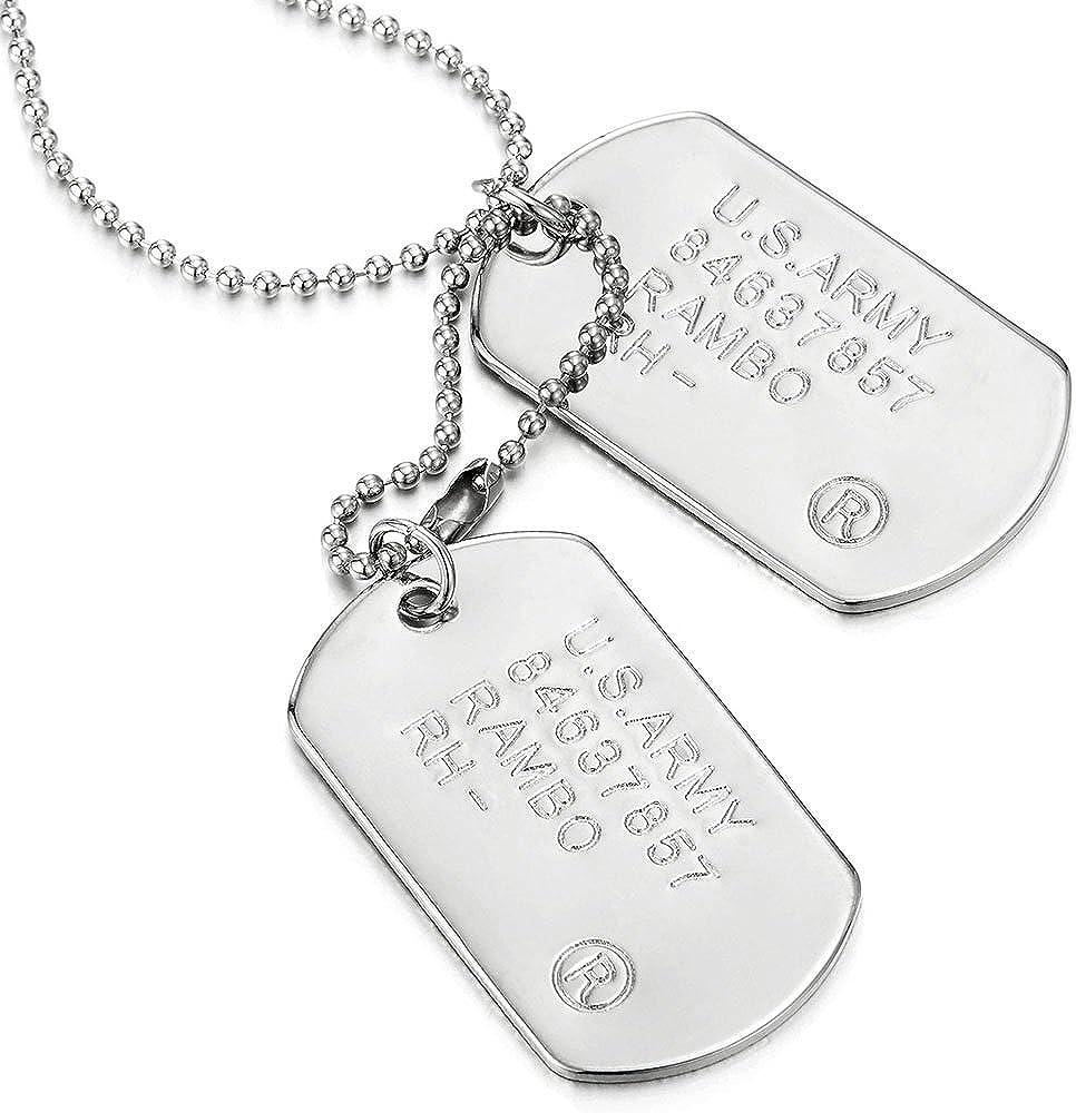 Classic dos piezas para hombre militar ejército perro etiqueta colgante collar con cadena de bolas, 28pulgadas