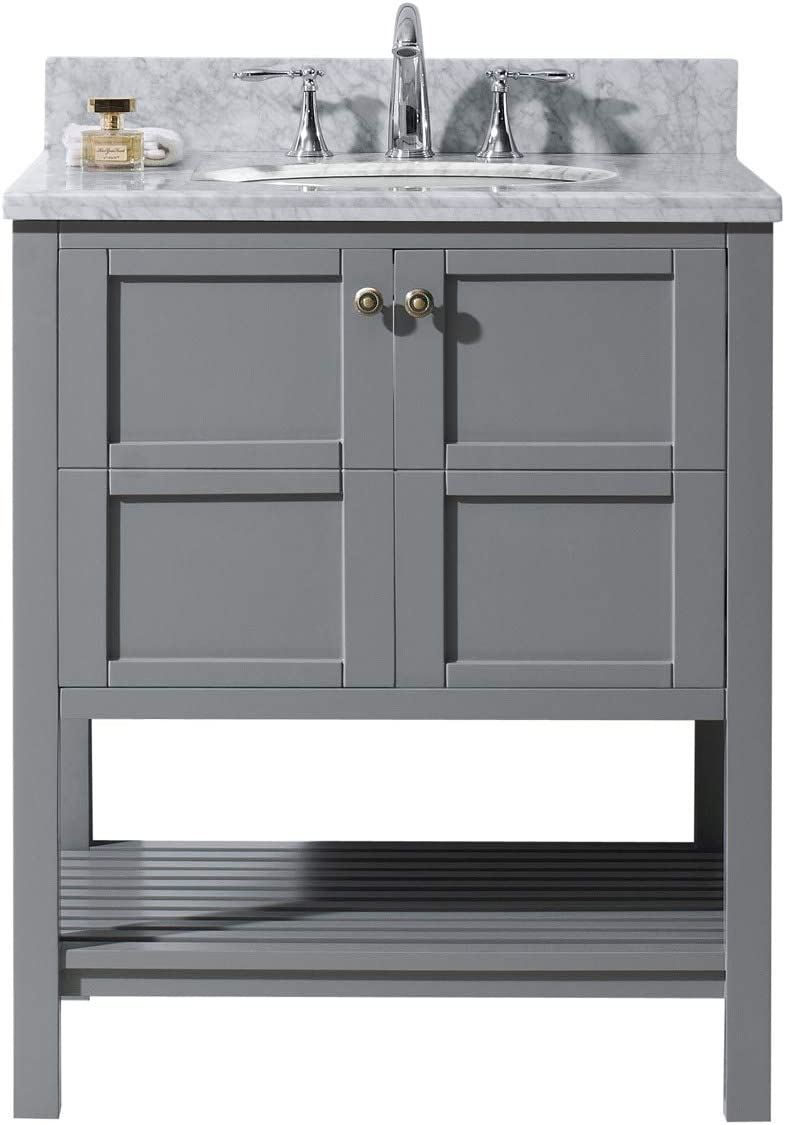 Virtu USA ES-30030-WMSQ-GR-NM Winterfell 30 Single Bathroom Vanity in Grey with Marble Top and Square Sink, 30 inches, Cool Gray