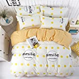 Bedding Set Duvet Cover Flat Sheet Pillowcase No Comforter 4pcs/set BC Twin Full Queen Flamingo Green Leaves Dream Star Smile Design for Children Kids (Smile Everyday, Pink, King, 86''x94'')