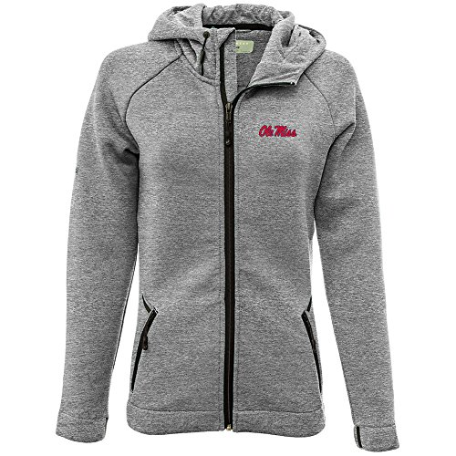 Levelwear LEY9R NCAA Mississippi Old Miss Rebels Adult Women Motion Insignia Full Zip Hooded Jacket, Large, Heather Pebble