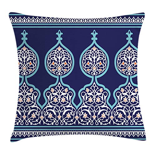 """Ambesonne Moroccan Throw Pillow Cushion Cover, Bohemian Style Middle Eastern Turkish Mystical Image Print, Decorative Square Accent Pillow Case, 20"""" X 20"""", Royal Blue"""