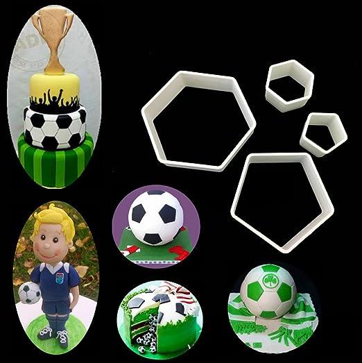 Amazon.com: Juego de 4 moldes de fútbol para fondant ...