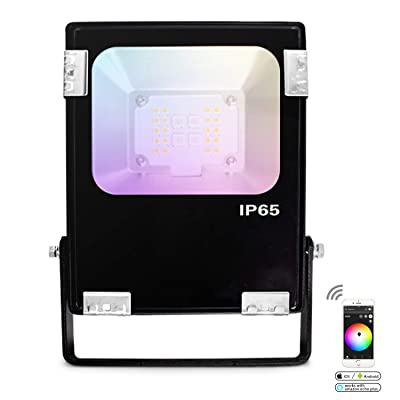 Gledopto Zigbee LED Flood Light, 10W Bright 700LM LED Security Lights 6500K White Light, IP65 Waterproof Outdoor Phone APP Control RGB Floodlight Great for Garage, Parking (Without Plug)