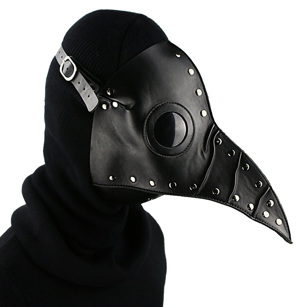 Black PU Leather Mask Plague Doctor Mask Halloween Props Leather Mask Costume Plague Bird Doctor Nose Cosplay Mask for Adult (bluee)