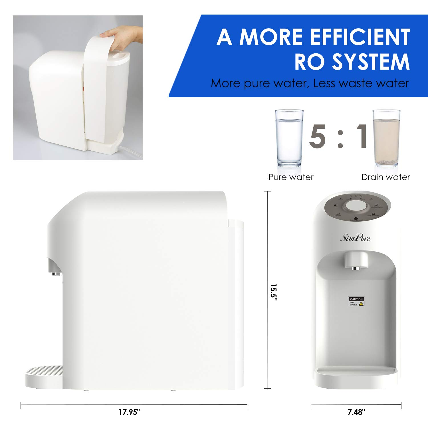 SimPure Y5 Instant Heat Reverse Osmosis Water Filtration System 5 ...