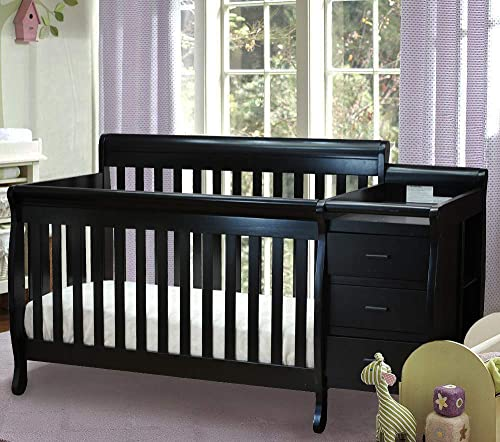 Athena Kimberly 3-in-1 Crib and Changer with Toddler Rail, Black