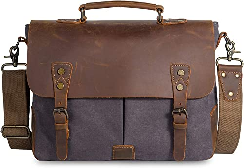 Messenger Bag for Men Women Waterproof Vintage Rugged Leather Canvas Briefcase Large School Travel Laptop Shoulder Bag