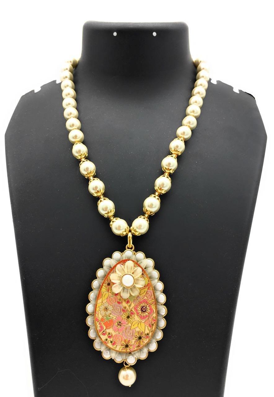Satyam Kraft Women's Traditional White Pearl Theva Necklace Set Wedding Diwali Traditional Pearl Kundan Ethnic Standard White