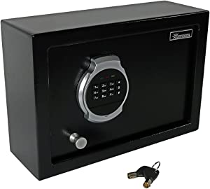 Sunnydaze Digital Safe Lock Box with Bolt-Down Hardware and Programmable Lock - Metal Security Cabinet for Home Business or Travel - 0.28 Cubic Feet