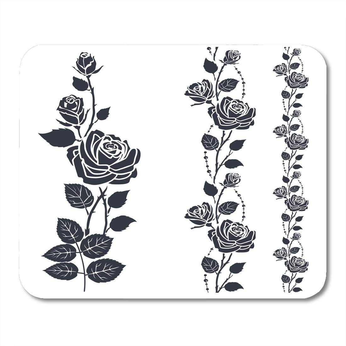 Amazoncom Nakamela Mouse Pads Drawing Black Flower Rose Tattoo