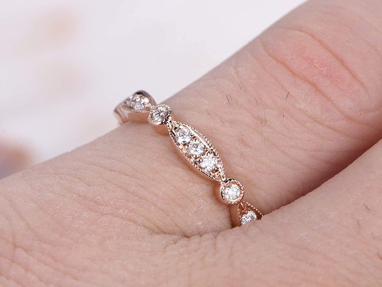 Amazon.com: Solid 14k Rose Gold Marquise Milgrain Diamond Engagement ...