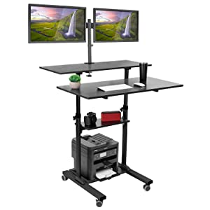 Mount-It! Mobile Standing Desk with Dual Monitor Mount - 40 Inch Wide Height Adjustable Rolling Computer Workstation with Four Wheels, Black