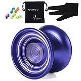 Responsive MAGICYOYO K7 Aluminum Yoyos for Beginners with Bag+ Glove+ 5 Strings (Purple)