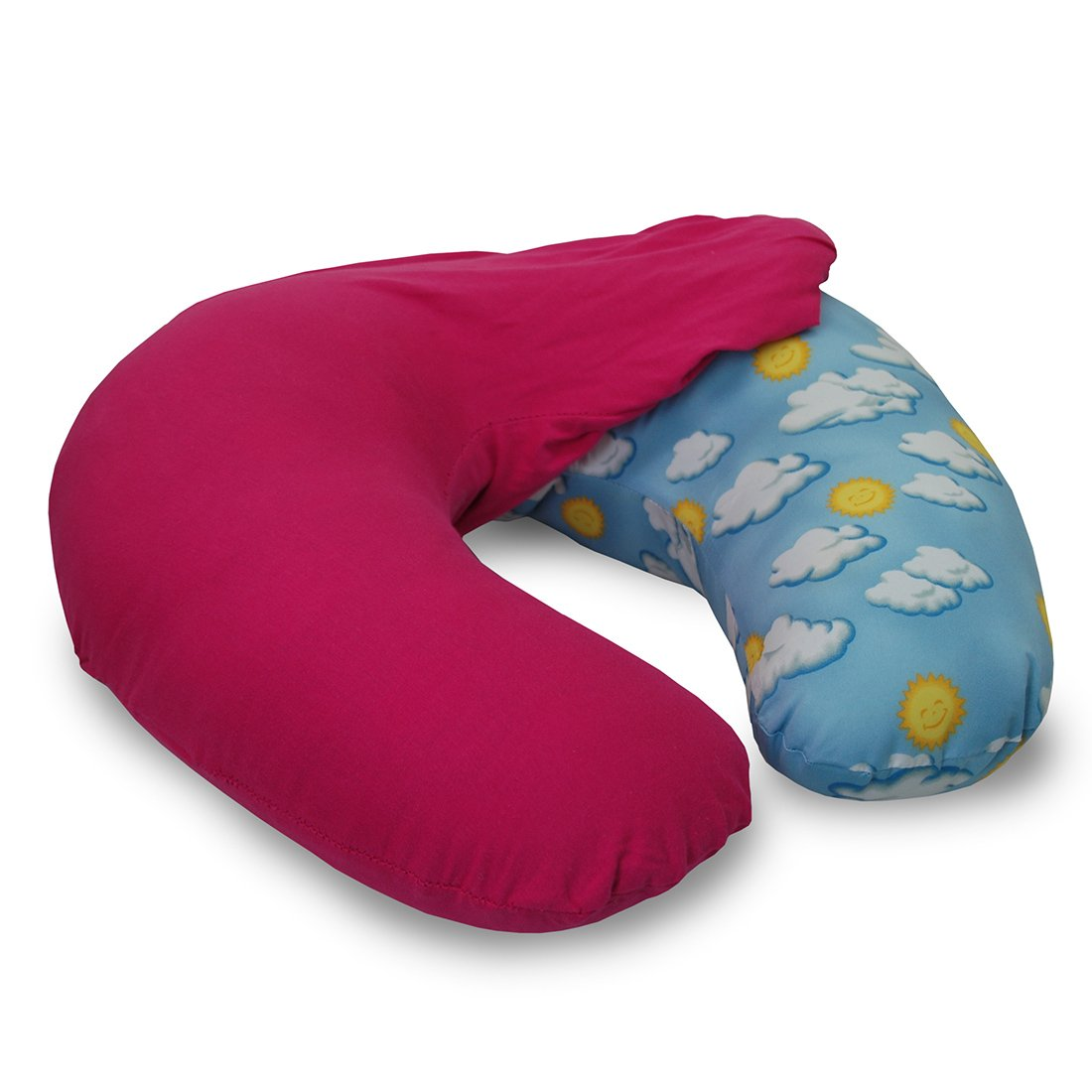 NurSit Nursing Pillow with Removable Pink Slipcover, Cloud Print