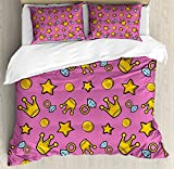 Lunarable Queen King Size Duvet Cover Set, Retro Cartoon Pattern of Coins Crowns and Rings on Fuchsia Backdrop, Decorative 3 Piece Bedding Set with 2 Pillow Shams, Pale Blue Fuchsia Yellow