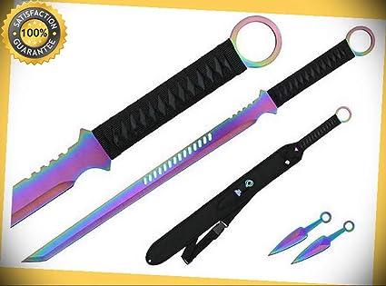 27 Ninja Sword TANTO BLADE Machete with 2 Throwing Knife ...