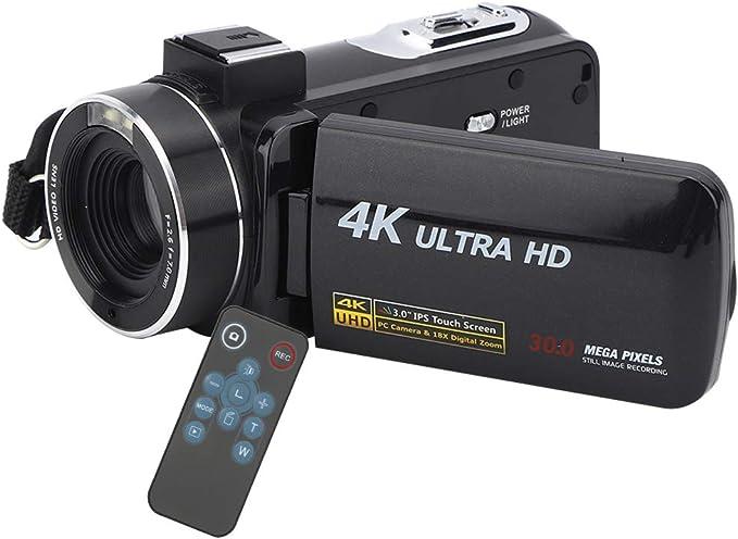 Videoc/ámara 4K C/ámara de Video UHD 30MP 18X Zoom C/ámara Digital con Luz De Relleno LED 3.0 Pulgadas Pantalla T/áctil Giratoria Vlogging C/ámara para YouTube con Micr/ófono Parasol,Estabilizador de mano
